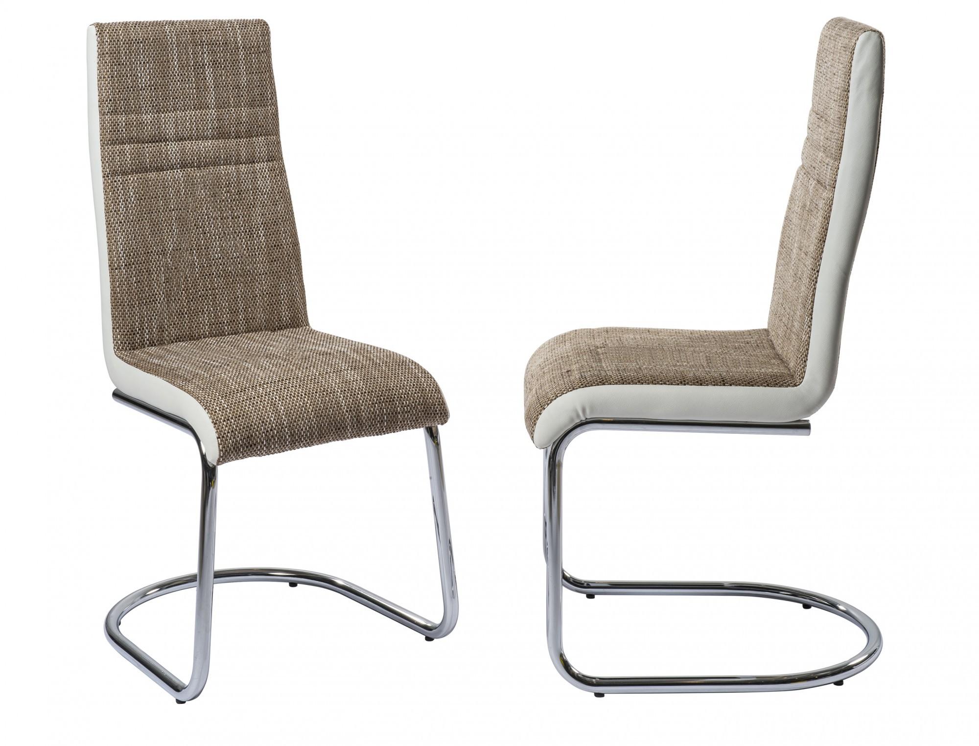 Esszimmerstuhl Schwingstuhl R5118-28 Thea Webstoff / Leder-Look PU braun-weiß